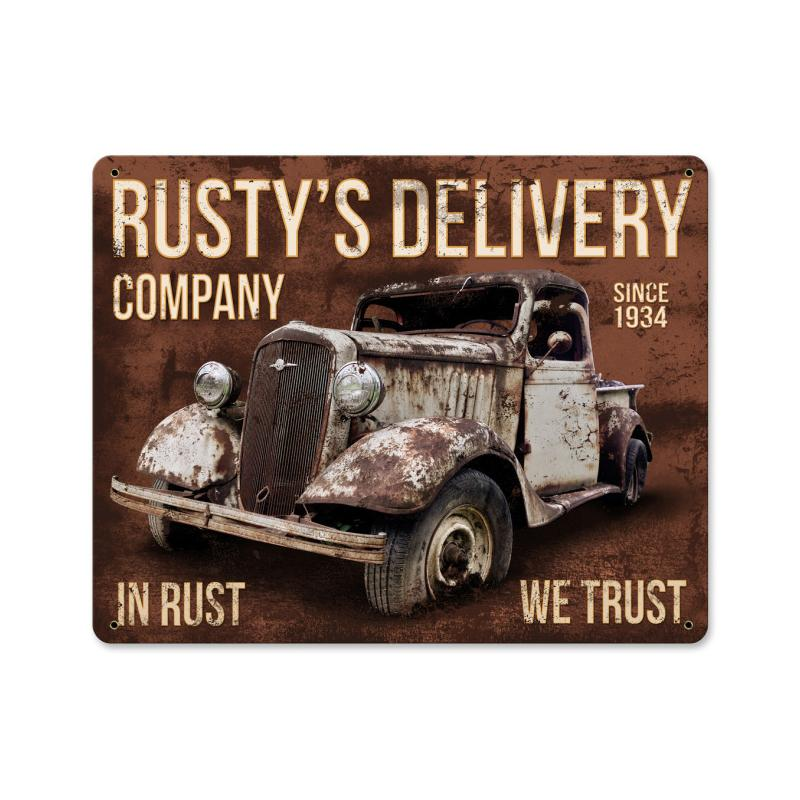 Rusty'S Delivery Co. In Rust We Trust Vintage Sign
