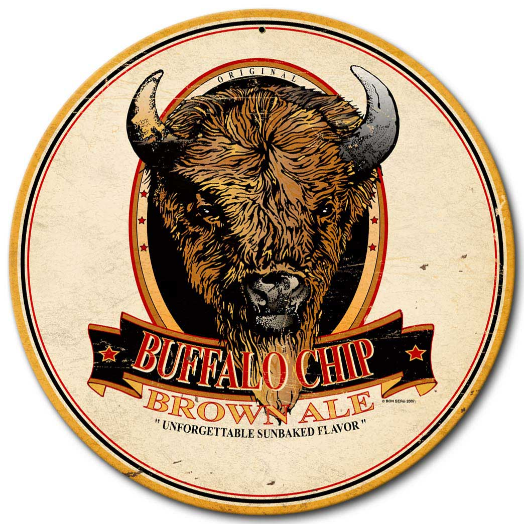 Buffalo Chip Brown Ale Vintage Sign