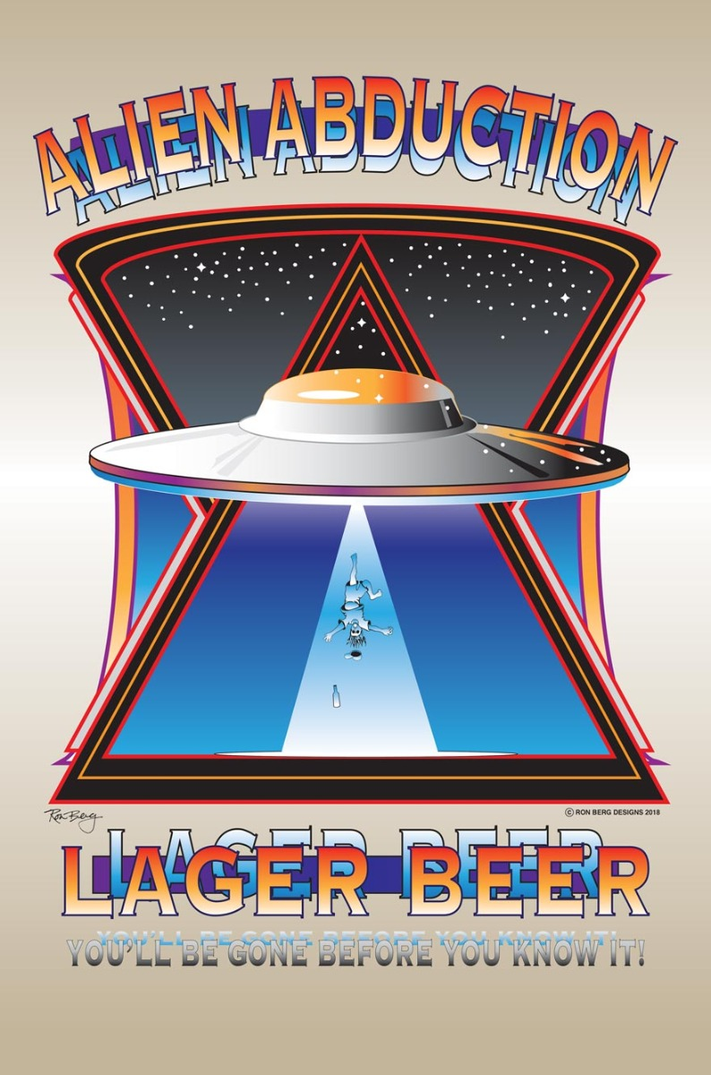 Alien Abduction Lager Vintage Sign
