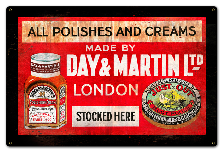 Day And Martin Shoe Polish Vintage Sign