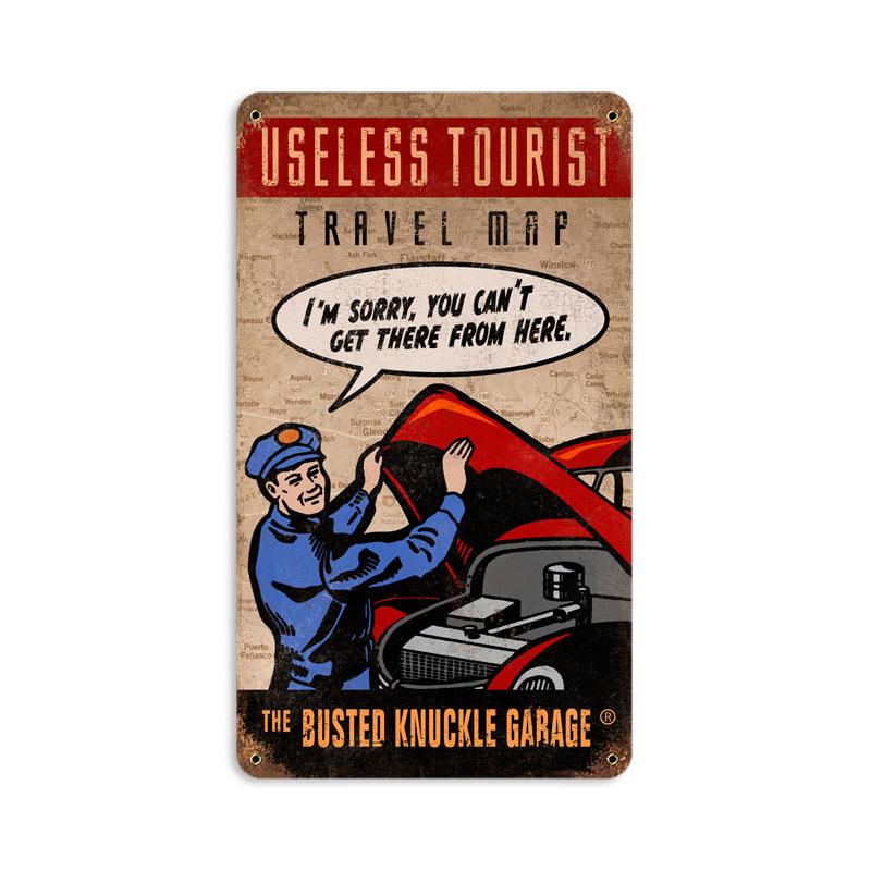 Useless Tourist Map Vintage Sign