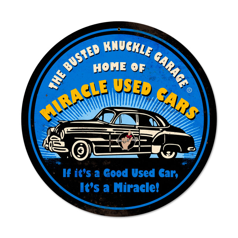 Miracle Used Cars Vintage Sign