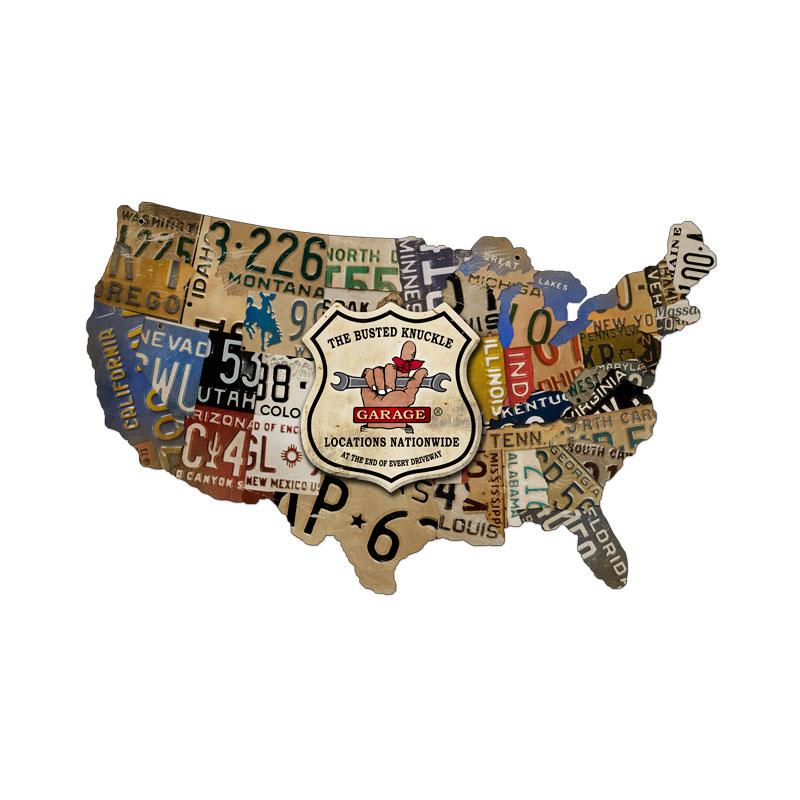 License Plate Map Vintage Sign