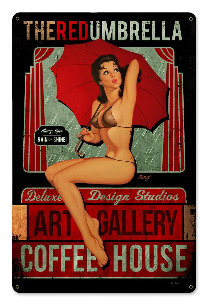 Red Umbrella Coffee Vintage Sign