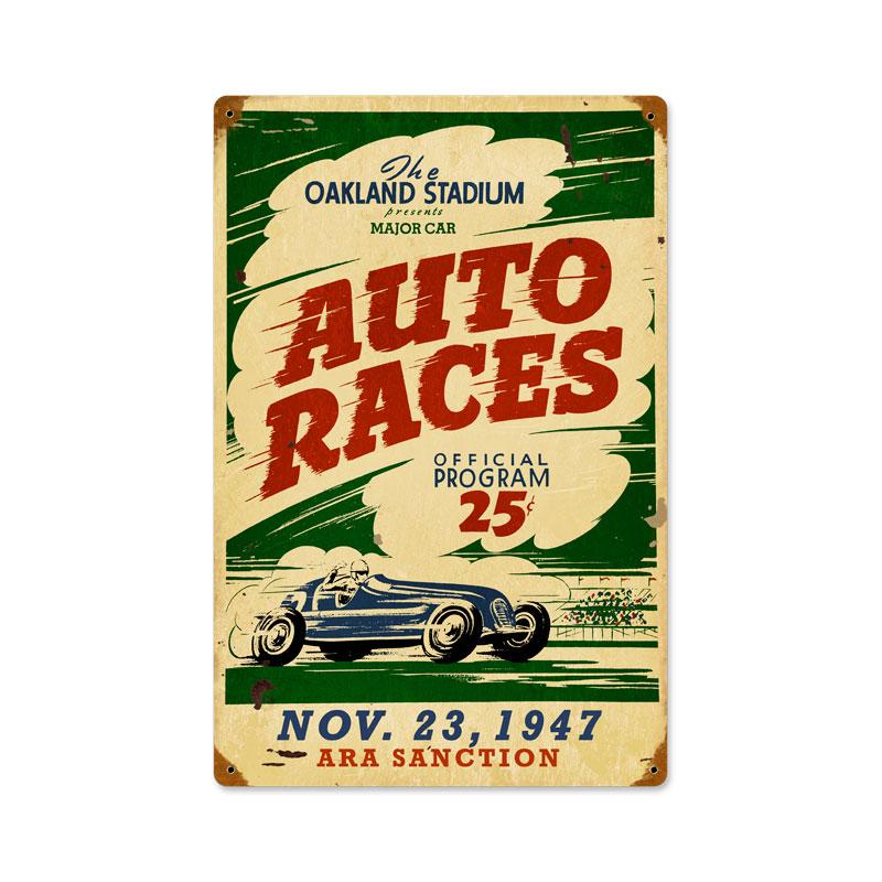 Oakland Auto Races Vintage Sign