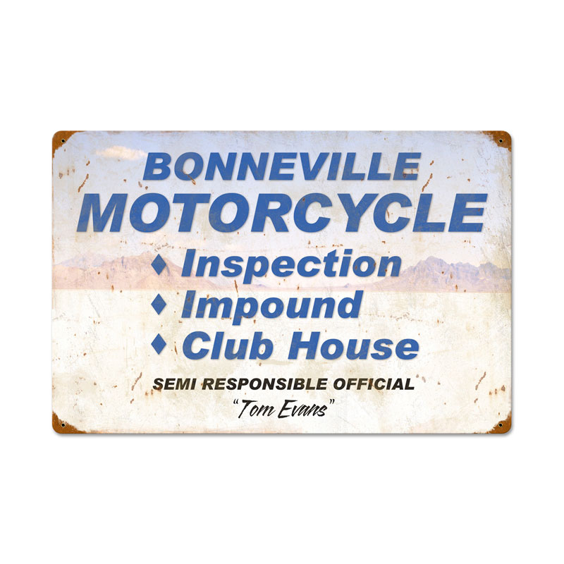 Bonneville Motorcycle Inspection Vintage Sign