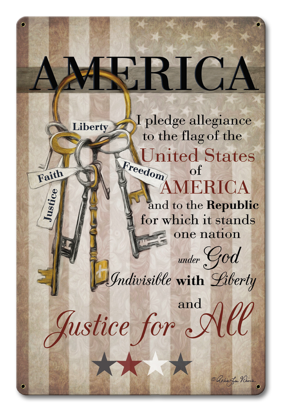 America Pledge Of Allegiance Vintage Sign