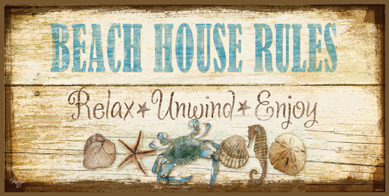 Beach House Rules Vintage Sign