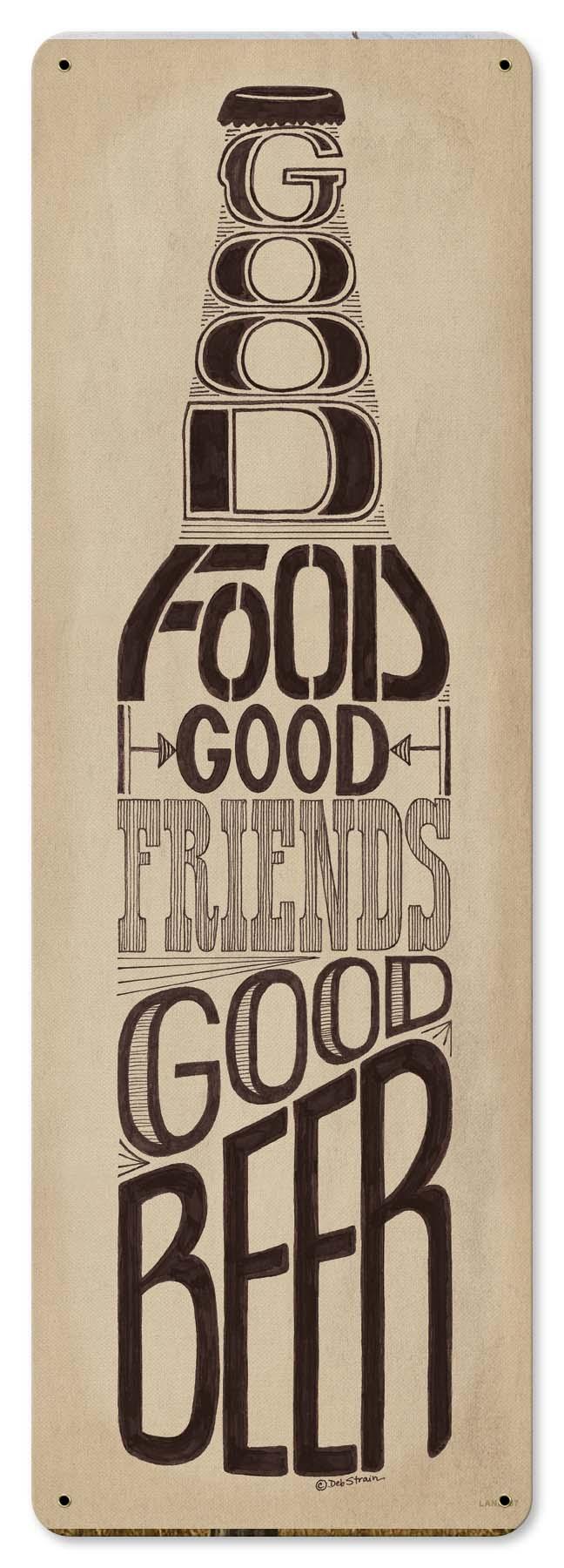 Good Food Friends Beer Vintage Sign