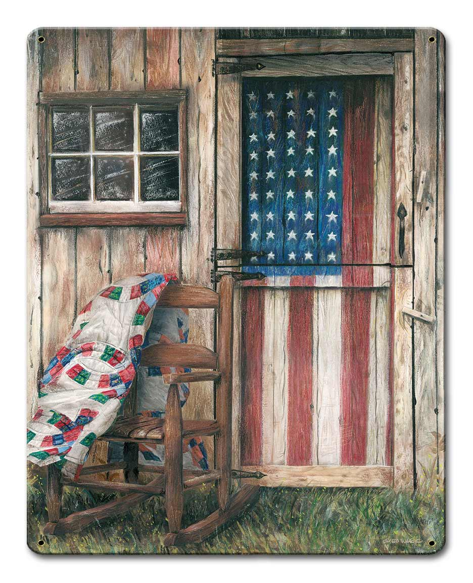 American Flag Rocking Chair Vintage Sign