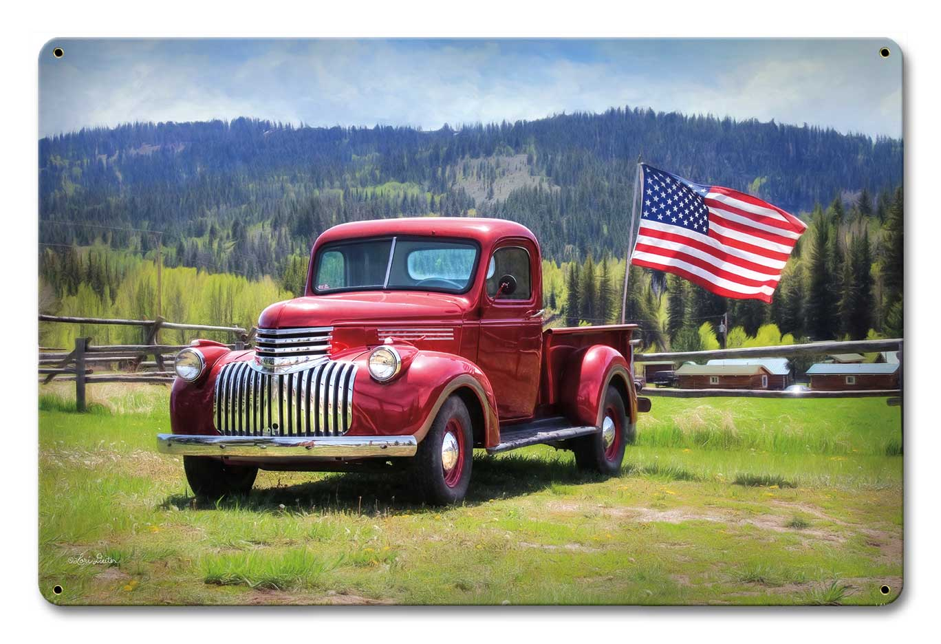 Red Truck American Flag Vintage Sign