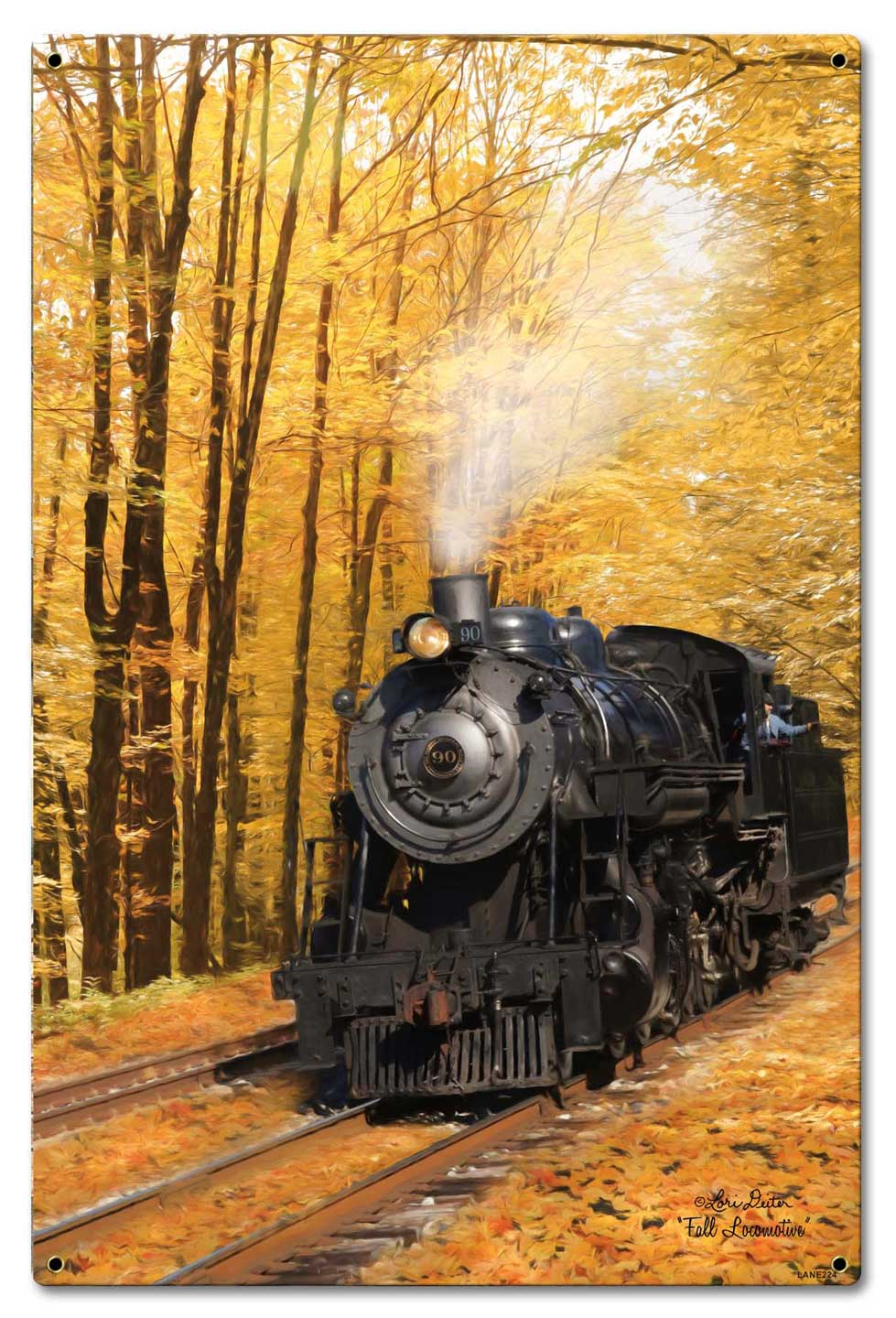 Fall Train Vintage Sign
