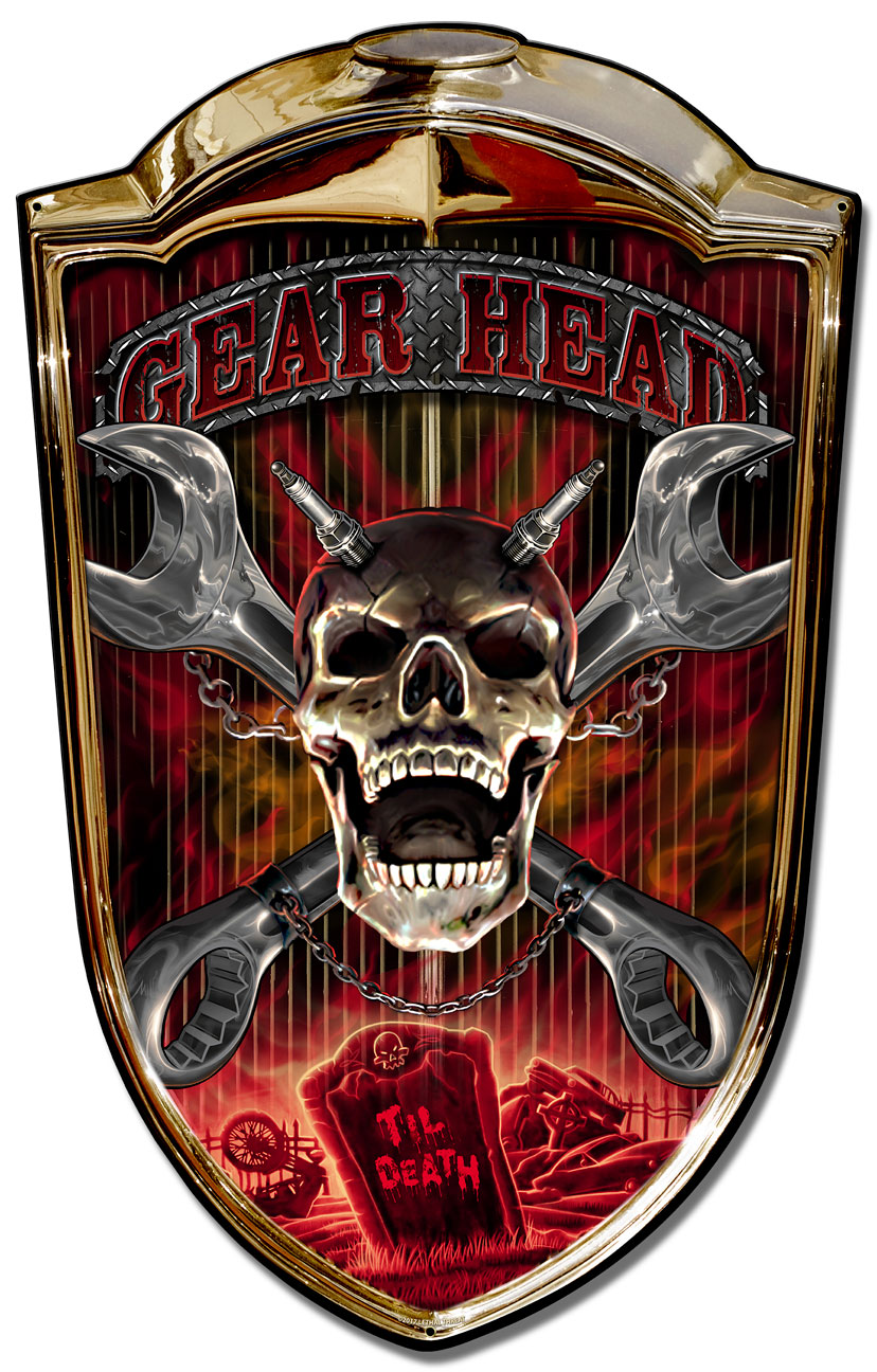 Grill Sign Gear Head Vintage Sign