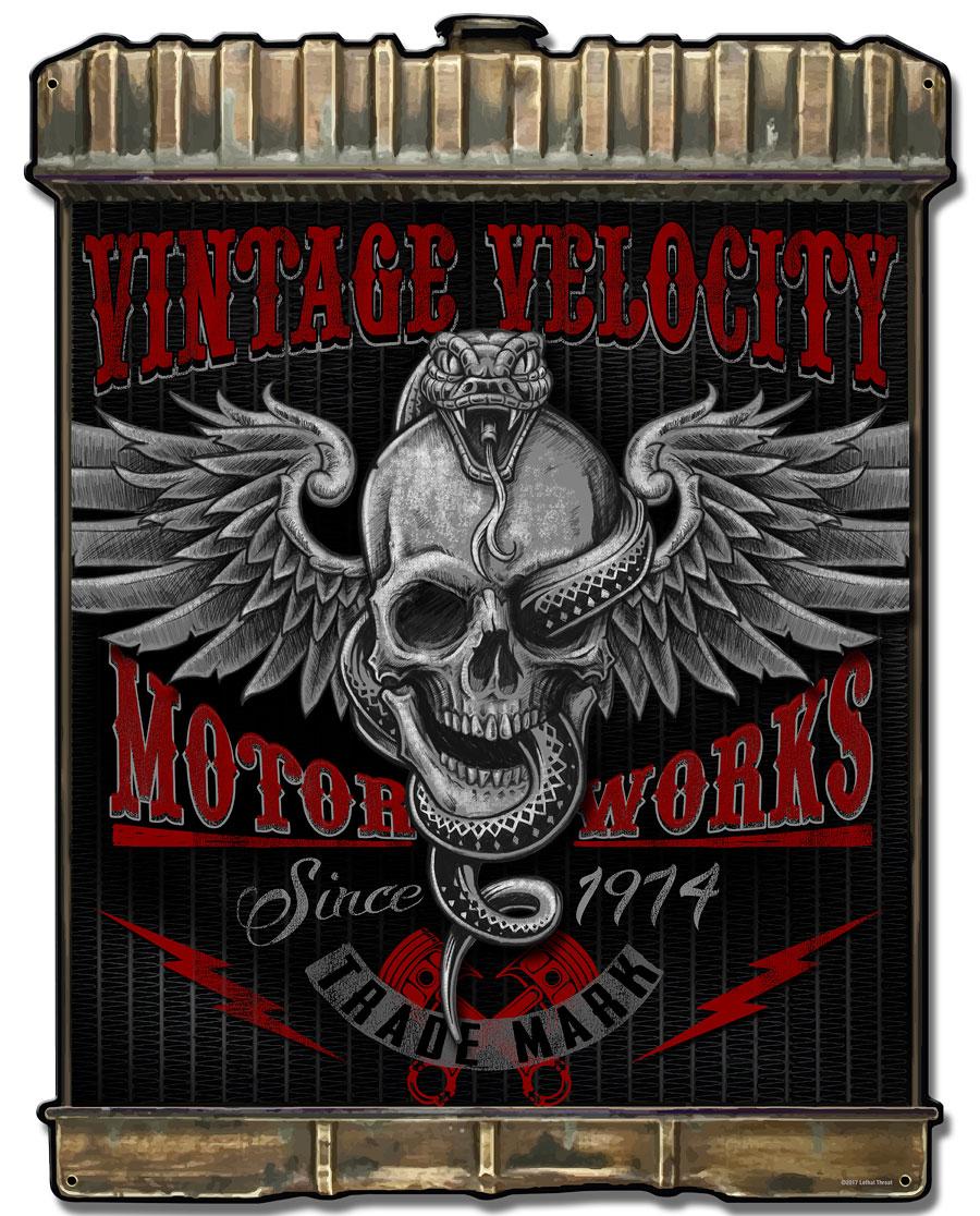 Radiator Snake Skull Vintage Sign