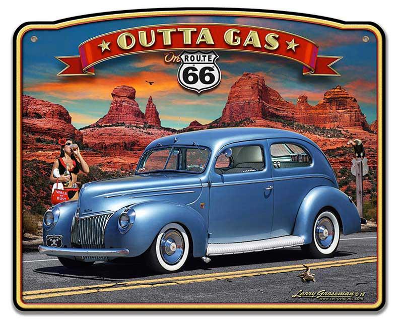 1939 Rod Sedan Rt 66 Vintage Sign