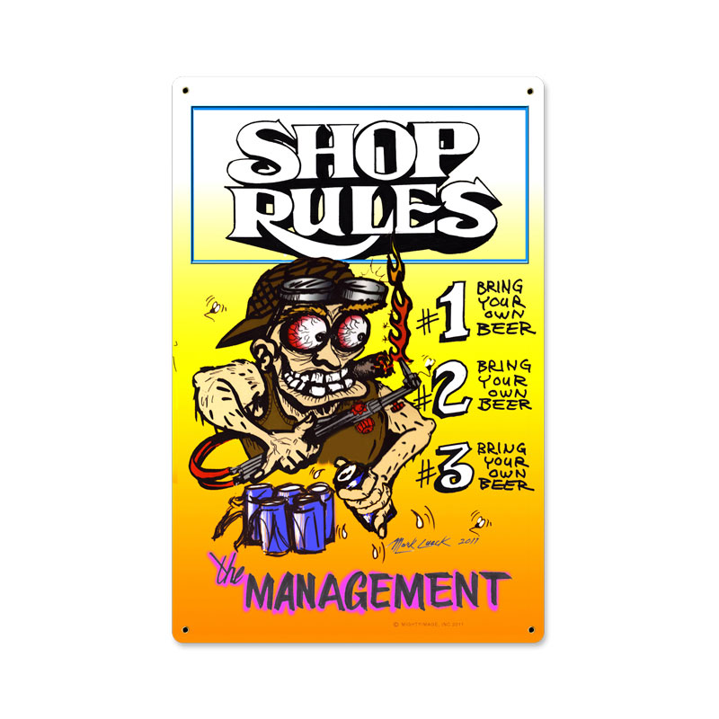 Shop Rules Vintage Sign