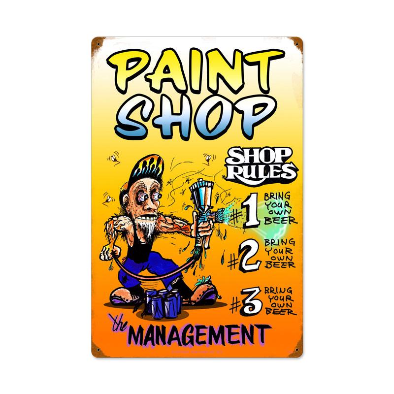 Paint Shop Rules Vintage Sign