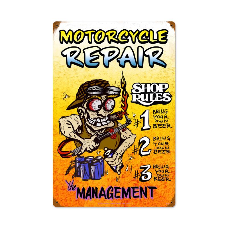 Motorcycle Repair Shop Rules Vintage Sign
