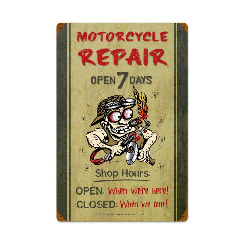 Motorcycle Repair Shop Hours Vintage Sign