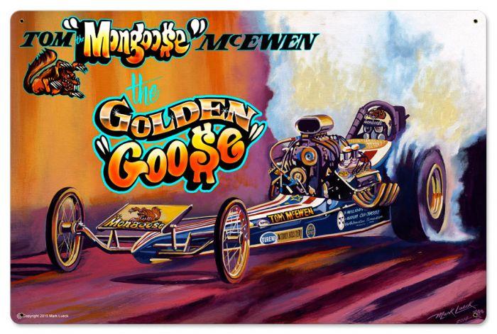 Race Car Mongoose Satin Vintage Sign