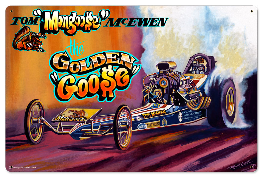 Race Car Mongoose Vintage Sign