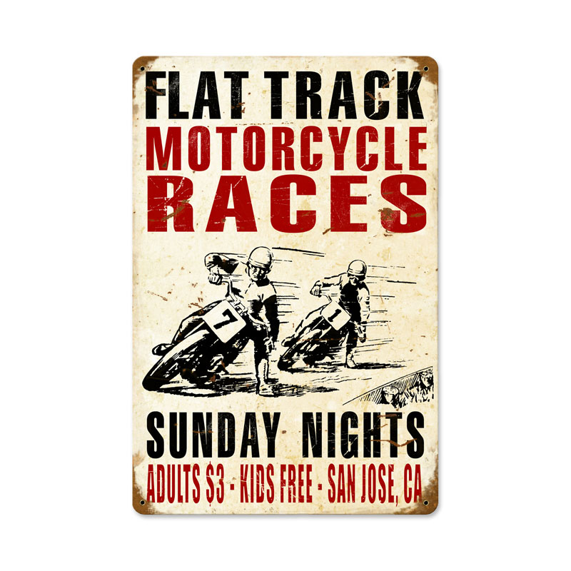 Motorcycle Races Vintage Sign