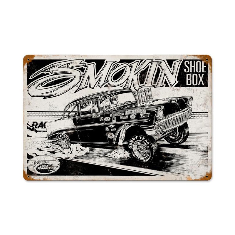 Smokin Shoebox Vintage Sign
