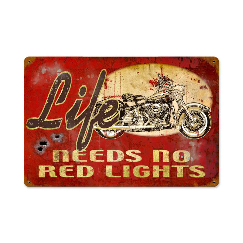 No Red Lights Vintage Sign