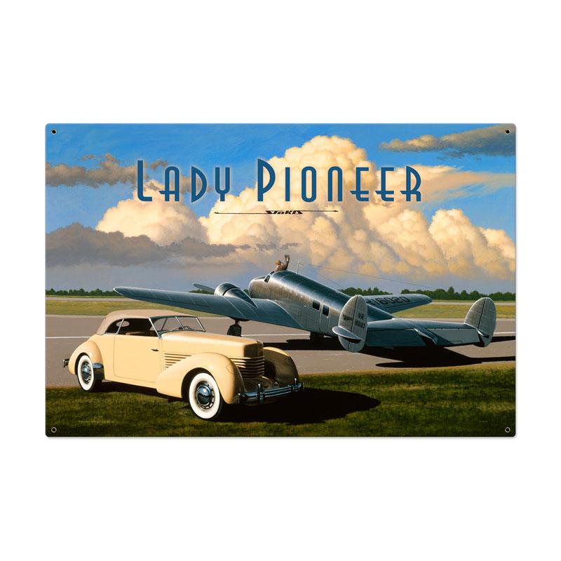 Lady Pioneer Vintage Sign
