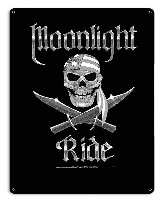 Moonlight Ride Bw Vintage Sign