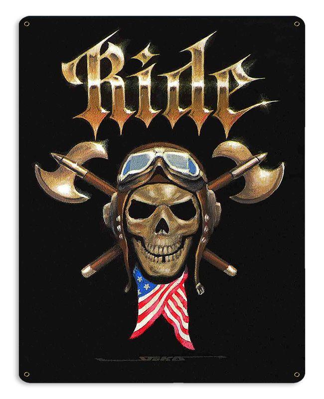 Ride Skull Vintage Sign