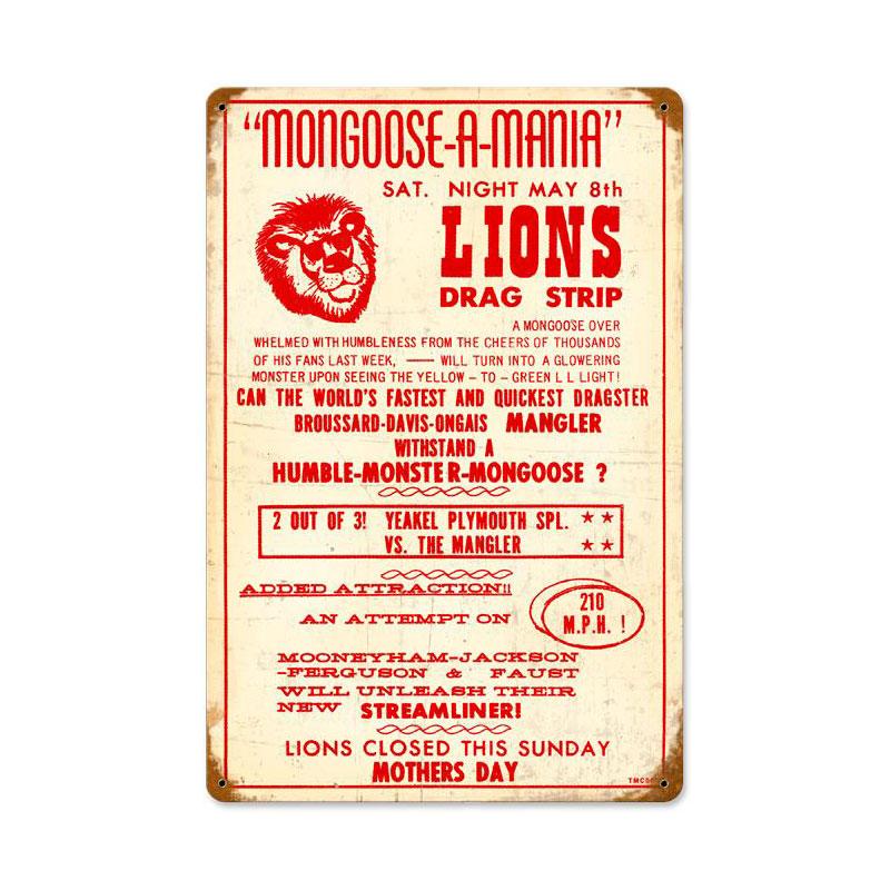 Lions Drag Strip Vintage Sign