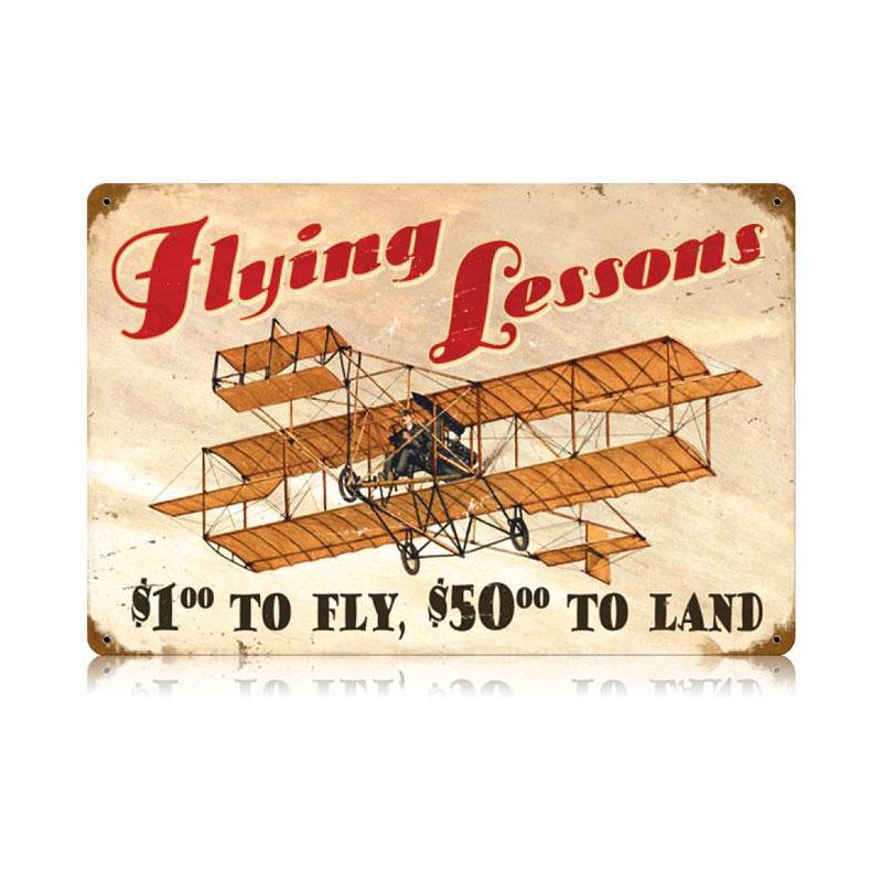 Flying Lessons Vintage Sign